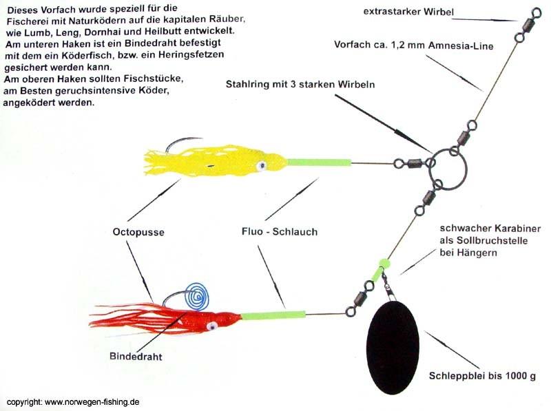 Paternoster Vorfach Dorsch Plattfisch Rosco Wirbel 1//0